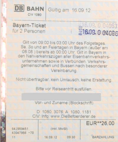 Bayernticket single buchen