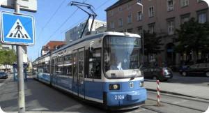 Number 16 Munich Sraßenbahn at the Hauptbahnhof