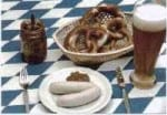 Munich Weisswurst ready to eat, and a weissbier